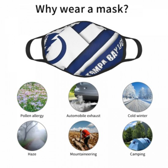 Sun protection Tampa Bay Lightning Adult black border face masks #319427 Suitable for Exercise, Cycling