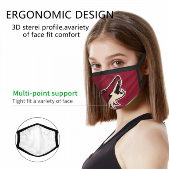 Breathable Arizona Coyotes Adult black border face masks #314631 for Men and Women