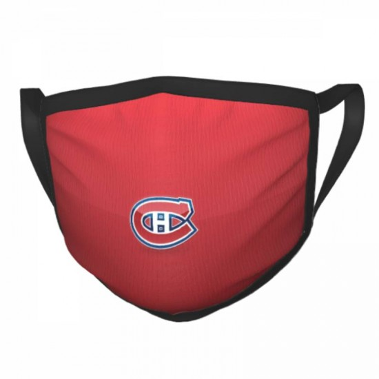 Fashionable Protective NHL Montreal Canadiens Adult black border face masks #319890 for Running, Camping